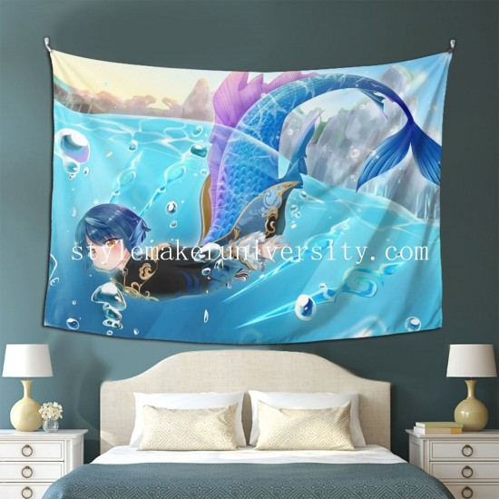 Tapestry Genshin Impact Xingqiu game room Decor Wall Hanging Tapestry For Bedroom Tapestries 80*60 Inch(pp20210327)