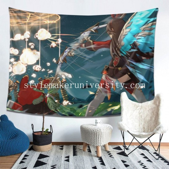 Tapestry Amber Genshin Impact Living room Decor Wall Hanging Tapestry For Bedroom Tapestries 80*60 Inch(pp20210327)