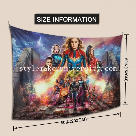 Tapestry Avengers EndGame Benedict Cumberbatch Black Panther Brie Larson Bruce Banner Bucky Barnes Captain bedroom Decor Wall Hanging Tapestry For Bedroom Tapestries 80*60 Inch(pp20210327)