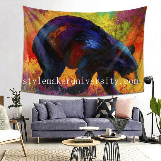Tapestry Roaming - Black Bear hall Decor Wall Hanging Tapestry For Bedroom Tapestries 80*60 Inch(pp20210327)