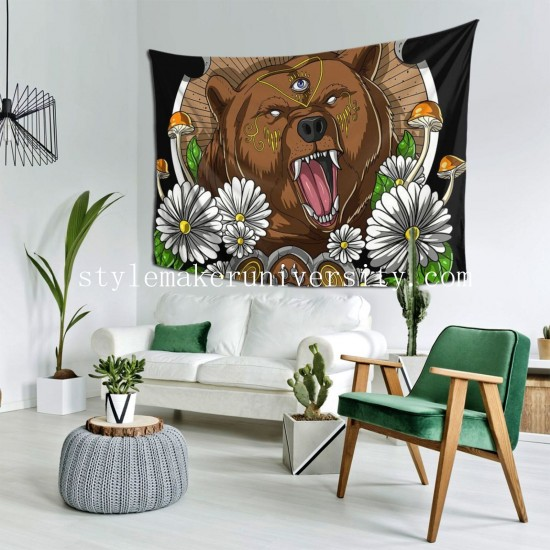 Tapestry Psychedelic Bear bedroom Decor Wall Hanging Tapestry For Bedroom Tapestries 80*60 Inch(pp20210327)
