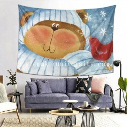 Tapestry Bear And Bird Living room Decor Wall Hanging Tapestry For Bedroom Tapestries 80*60 Inch(pp20210327)