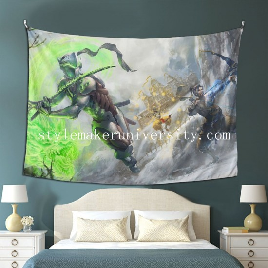 Tapestry Genji Hanzo Overwatch Zenyatta hall Decor Wall Hanging Tapestry For Bedroom Tapestries 80*60 Inch(pp20210327)