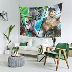 Tapestry Genji Hanzo McCree Overwatch Reaper Living room Decor Wall Hanging Tapestry For Bedroom Tapestries 80*60 Inch(pp20210327)