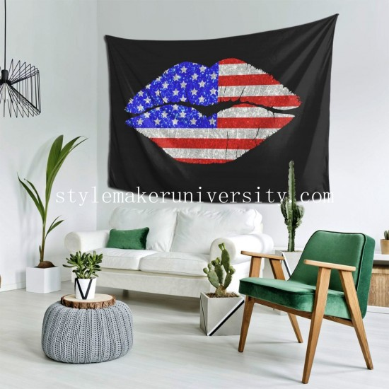 Tapestry Patriotic Lips II hall Decor Wall Hanging Tapestry For Bedroom Tapestries 80*60 Inch(pp20210327)