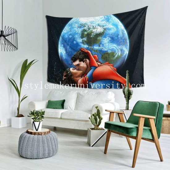 Tapestry All Star Superman Kiss Lois Lane Superman Terre game room Decor Wall Hanging Tapestry For Bedroom Tapestries 80*60 Inch(pp20210327)