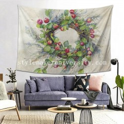 Tapestry Woodland Berry Wreath bedroom Decor Wall Hanging Tapestry For Bedroom Tapestries 80*60 Inch(pp20210327)