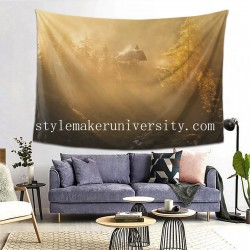 Tapestry Alpine Church In The Morning Fog game room Decor Wall Hanging Tapestry For Bedroom Tapestries 80*60 Inch(pp20210327)