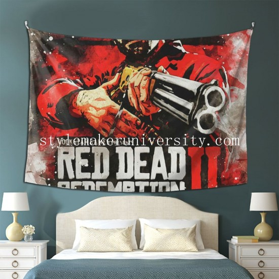 Tapestry Red Dead II Poster Living room Decor Wall Hanging Tapestry For Bedroom Tapestries 80*60 Inch(pp20210327)