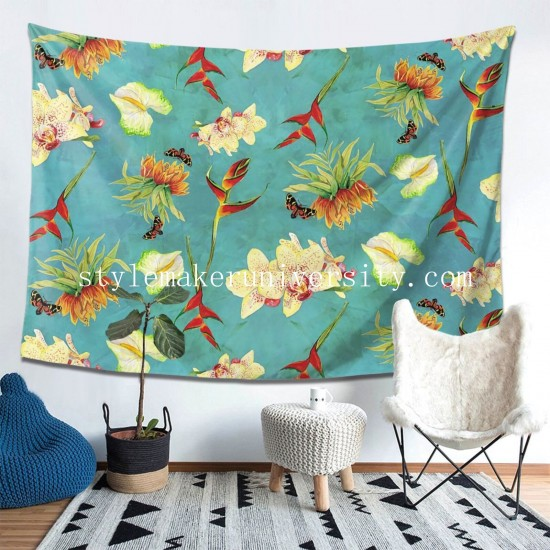 Tapestry Tropical Island Floral Half Drop Pattern hall Decor Wall Hanging Tapestry For Bedroom Tapestries 80*60 Inch(pp20210327)