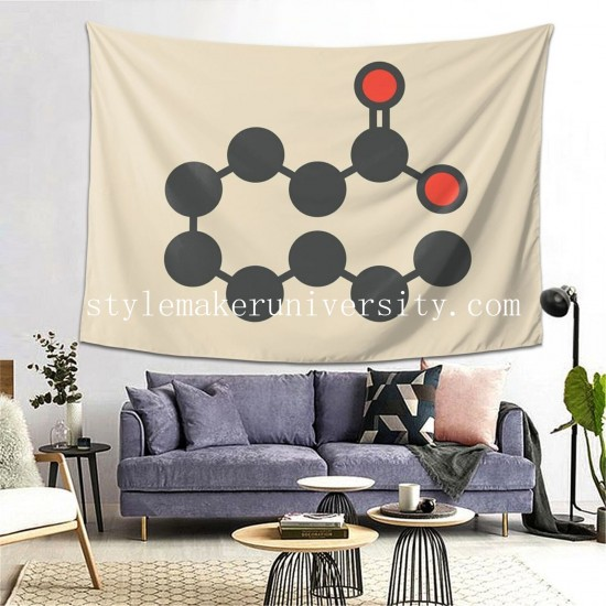 Tapestry Caprylic Acid Molecule game room Decor Wall Hanging Tapestry For Bedroom Tapestries 80*60 Inch(pp20210327)