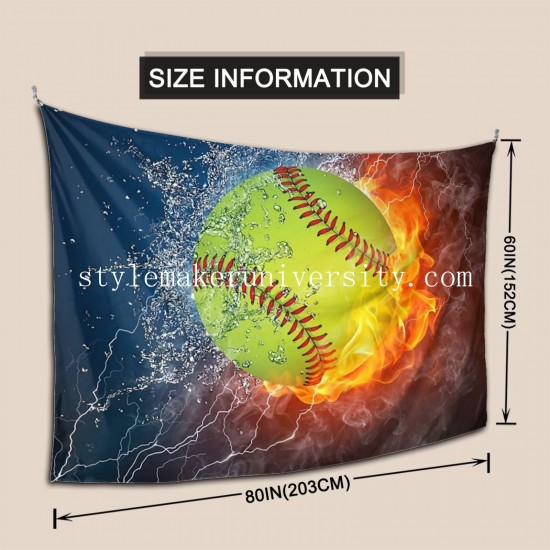 Tapestry Fire Softball hall Decor Wall Hanging Tapestry For Bedroom Tapestries 80*60 Inch(pp20210327)