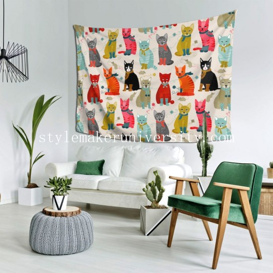 Tapestry Cat Ladies bedroom Decor Wall Hanging Tapestry For Bedroom Tapestries 80*60 Inch(pp20210327)