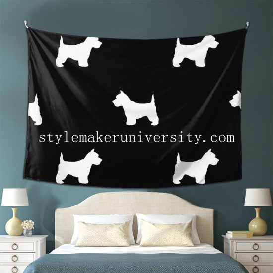Tapestry Westie West Highland Terrier Dog Silhouette Black bedroom Decor Wall Hanging Tapestry For Bedroom Tapestries 80*60 Inch(pp20210327)