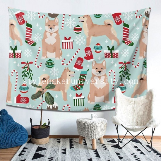 Tapestry Shiba Inu Dog Christmas hall Decor Wall Hanging Tapestry For Bedroom Tapestries 80*60 Inch(pp20210327)