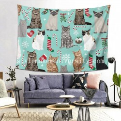 Tapestry Christmas Cat bedroom Decor Wall Hanging Tapestry For Bedroom Tapestries 80*60 Inch(pp20210327)