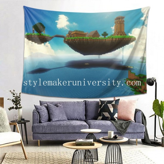 Tapestry Floating Island Minecraft Mojang bedroom Decor Wall Hanging Tapestry For Bedroom Tapestries 80*60 Inch(pp20210327)