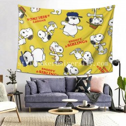 Tapestry Snoopy Sibllings Living room Decor Wall Hanging Tapestry For Bedroom Tapestries 80*60 Inch(pp20210327)