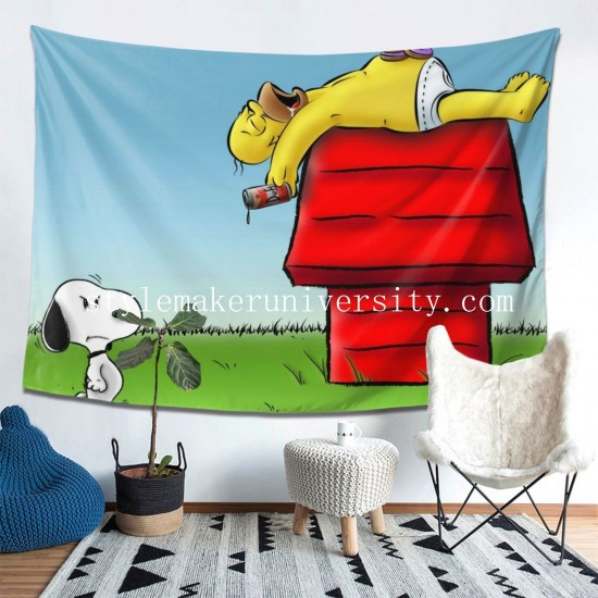 Tapestry Homer Simpson Les Simpsons Snoopy game room Decor Wall Hanging Tapestry For Bedroom Tapestries 80*60 Inch(pp20210327)