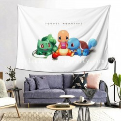 Tapestry Bulbasaur Charmander Pokémon Squirtle Starter Pokemon Unown hall Decor Wall Hanging Tapestry For Bedroom Tapestries 80*60 Inch(pp20210327)