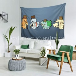 Tapestry Bulbasaur Charmander Monocle Pikachu Pokémon Squirtle Starter Pokemon Top Hat bedroom Decor Wall Hanging Tapestry For Bedroom Tapestries 80*60 Inch(pp20210327)