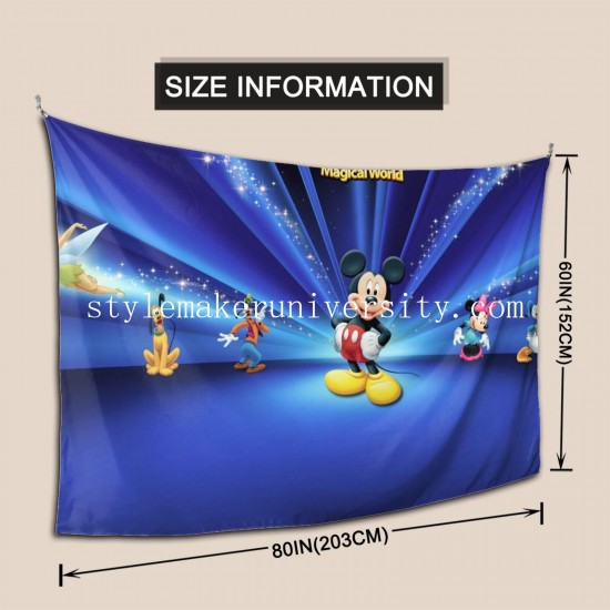 Tapestry Disney Donald Duck Fée Goofy Mickey Mouse Minnie Mouse Pluto Tinker Bell bedroom Decor Wall Hanging Tapestry For Bedroom Tapestries 80*60 Inch(pp20210327)